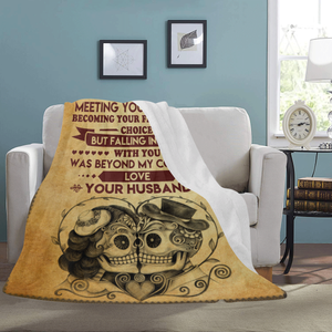 To My Wife Meeting You Was Fate Skull Ultra Soft Cozy Plush Fleece Blanket