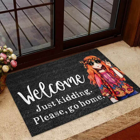 Welcome Just Kidding – Hippie Easy Clean Welcome DoorMat | Felt And Rubber | 40x60 cm | 45x75 cm | 60x90 cm | Colorful | DO1242