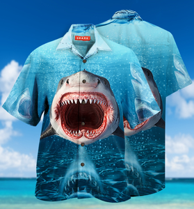 Show Your Teeth Shark Hawaiian Shirt | Unisex | Full Size | Adult | Colorful | HW1676