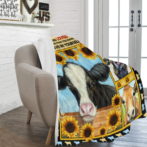 Never Forget Who You Are 3D Cow Farming Sunflower Ultra Soft Cozy Plush Fleece Blanket