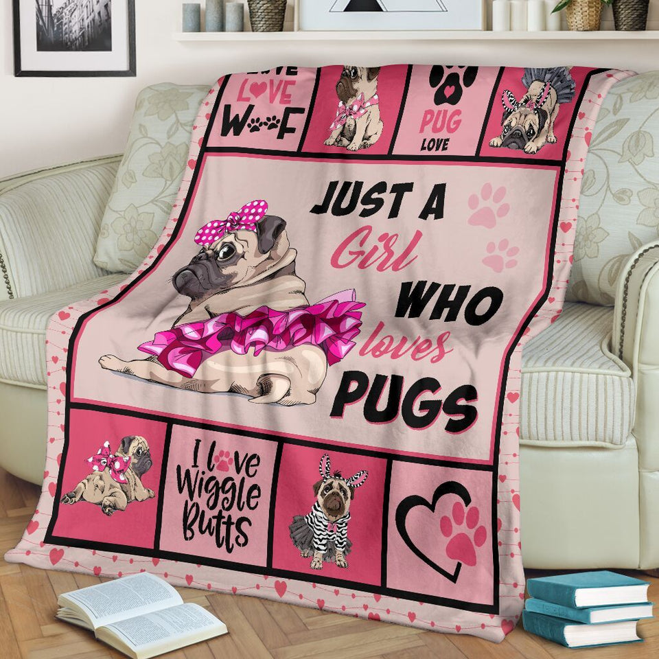 Pug Gifts For Girls Funny Just A Girl Who Loves Pugs Pink Ultra Soft Cozy Plush Fleece Blanket