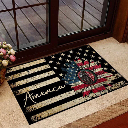 America Sunflower Easy Clean Welcome DoorMat | Felt And Rubber | 40x60 cm | 45x75 cm | 60x90 cm | Colorful | DO1015