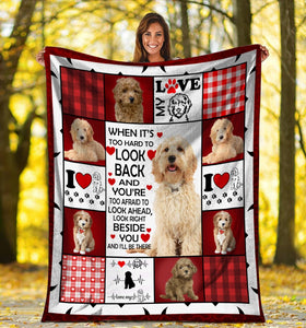 Goldendoodle Dog When It's Too Hard To Look Back Ultra Soft Cozy Plush Fleece Blanket