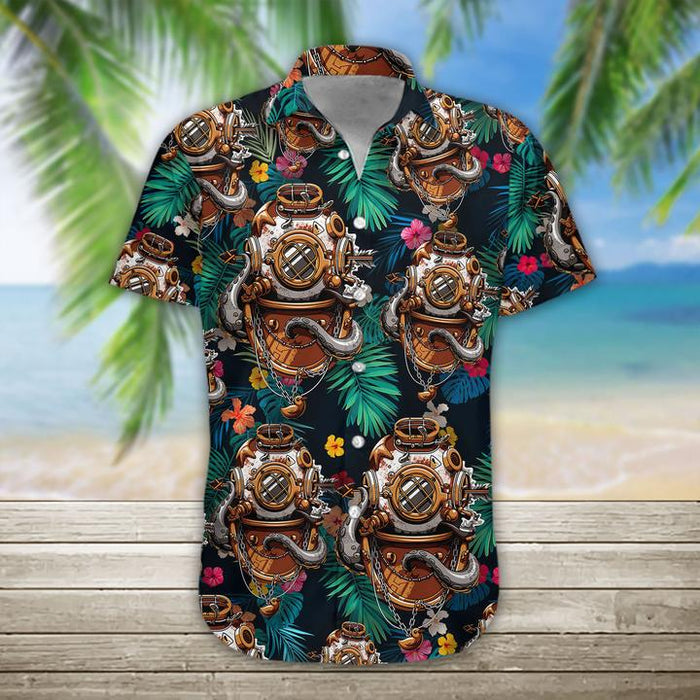 Scuba Diving Helmet Hawaiian Shirt | Unisex | Full Size | Adult | Colorful | HW1150