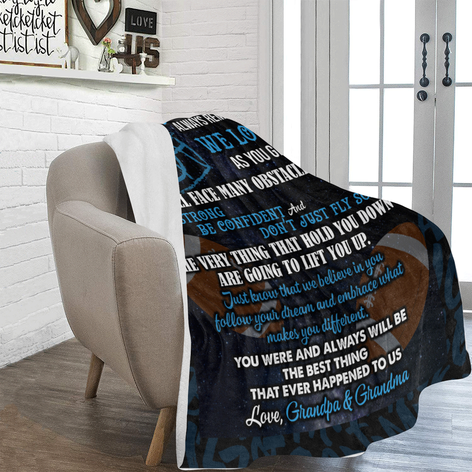 To Our Grandson Always Remember How Much We Love You Grandpa Grandma Football Ultra Soft Cozy Plush Fleece Blanket