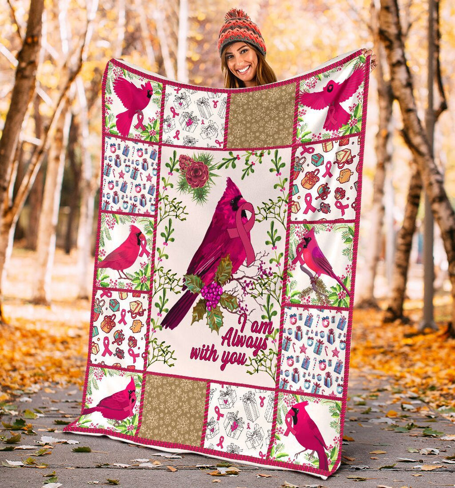 I Am Always With You Red Cardinal Breast Cancer Ultra Soft Cozy Plush Fleece Blanket