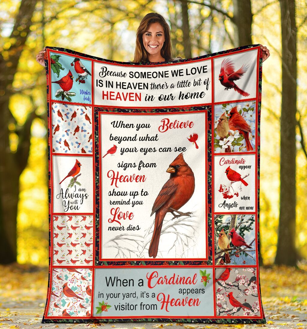 When You Belive Beyond What Your Eyes Can See Red Cardinal Ultra Soft Cozy Plush Fleece Blanket