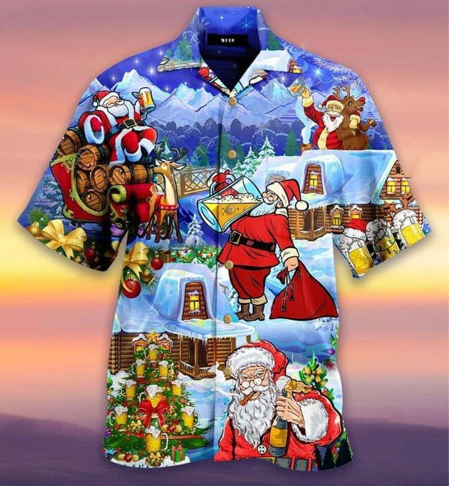 Santa Claus Drinking Beer Hawaiian Shirt | Unisex | Full Size | Adult | Colorful | HW2074