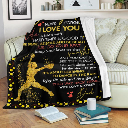 To My Daughter From Dad Fleece Blanket | Adult 60x80 inch | Youth 45x60 inch | Colorful | BK3445