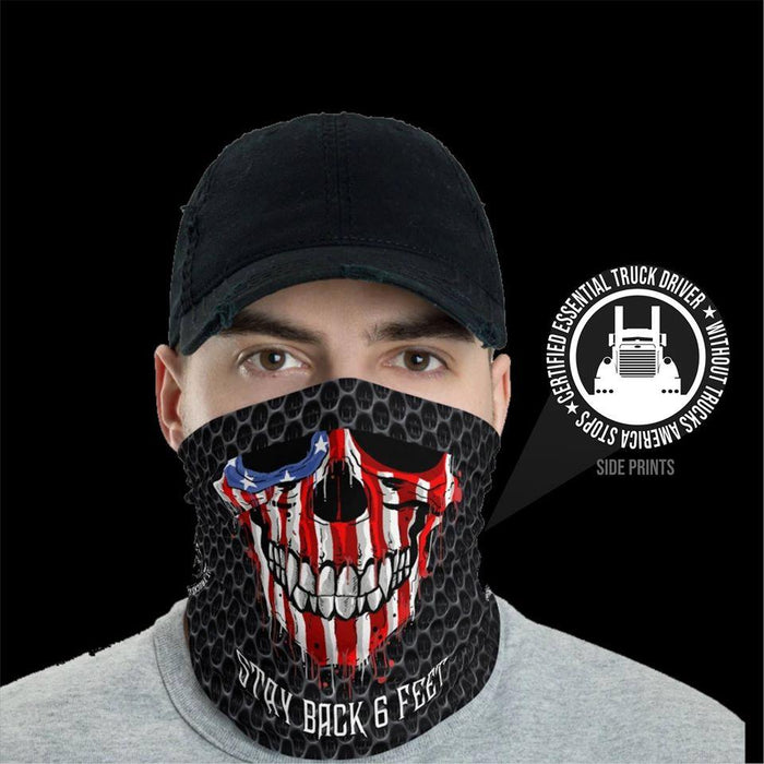 Stay Back 6 Feet Certified Essential Truck Driver Bandana Shield B1107