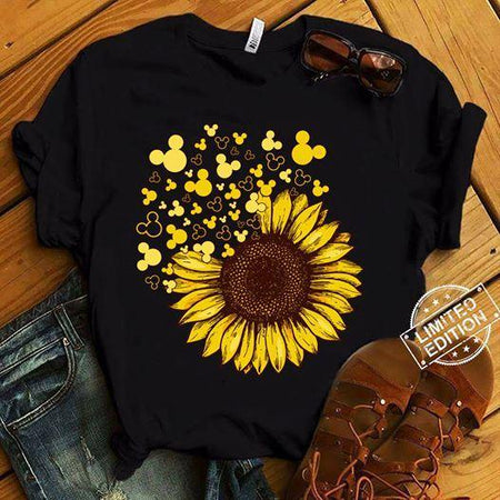 Sunflower Mouse Unisex T Shirt | Full Size | Adult | Black | K1021