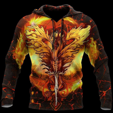 Fire Dragon 3D All Over Print | Hoodie | Unisex | Full Size | Adult | Colorful | HT4110