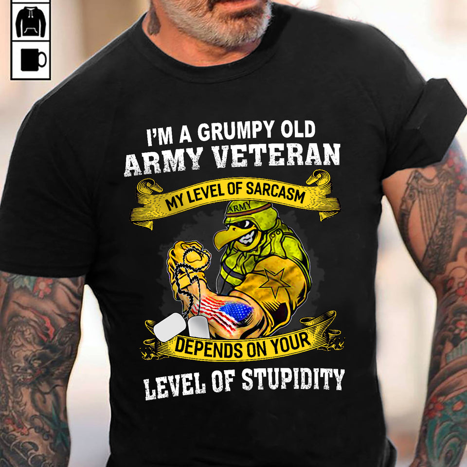 I Am A Grump Old Army Veteran Unisex T Shirt | Full Size | Adult | Black | K2595