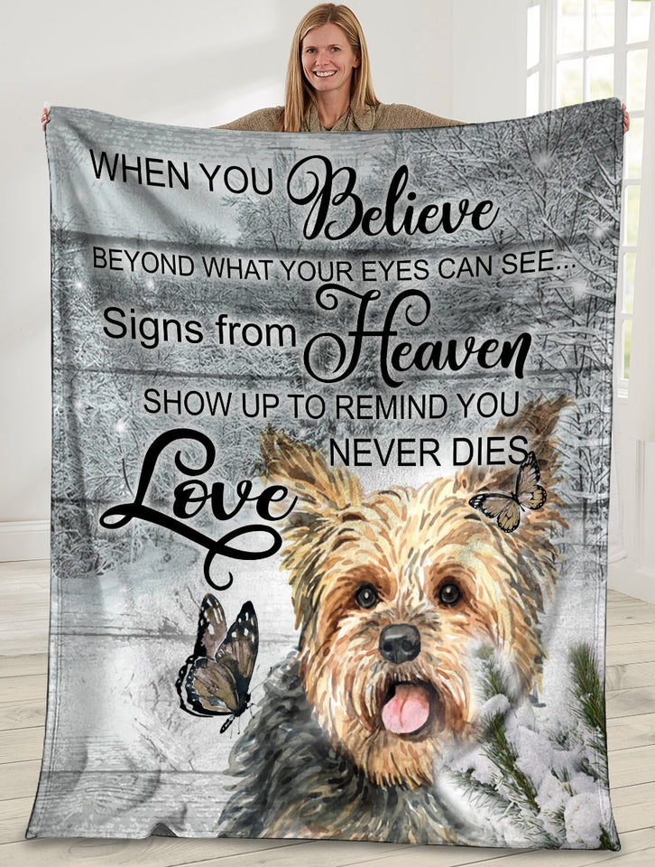 Yorkshire Dog When You Belive Beyond What Your Eyes Can See Ultra Soft Cozy Plush Fleece Blanket