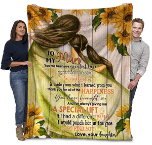 To My Mum You've Been My Greatest Hero Sunflower Mom And Daughter Ultra Soft Cozy Plush Fleece Blanket
