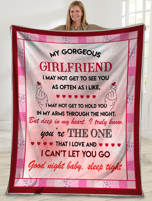 My Gorgeous Girlfriend I May Not Get To See You Pink Ultra Soft Cozy Plush Fleece Blanket