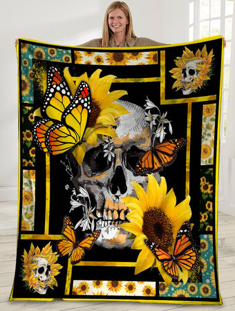 Skull Butterfly Sunflower Hippie Ultra Soft Cozy Plush Fleece Blanket