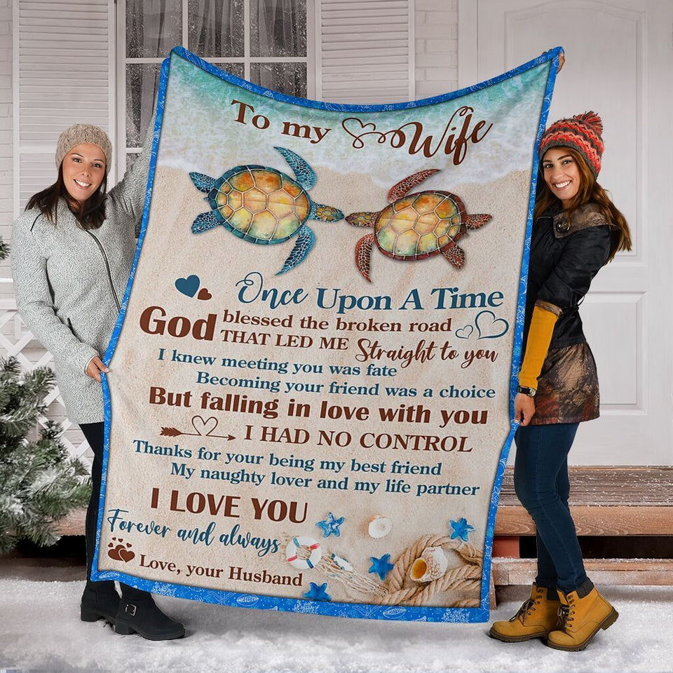 To My Wife Once Upon A Time Sea Turtle Tortoise Beach Ultra Soft Cozy Plush Fleece Blanket