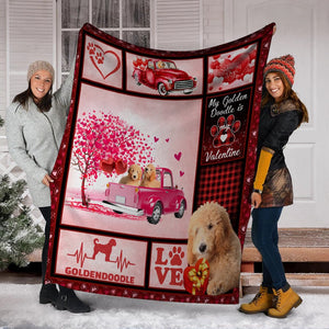 Valentine's Day Gifts My Goldendoodle Is My Valentine Goldendoodle Dog Pink Truck Ultra Soft Cozy Plush Fleece Blanket