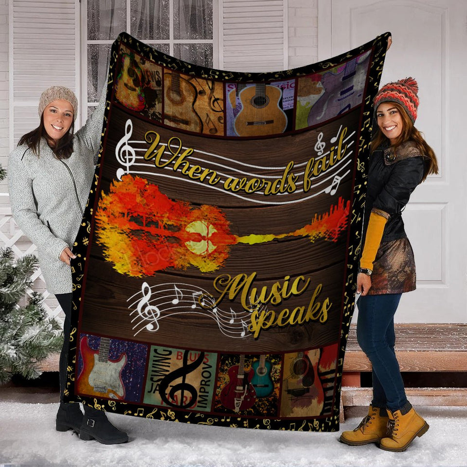 When Words Fail Music Speaks Guitar Ultra Soft Cozy Plush Fleece Blanket