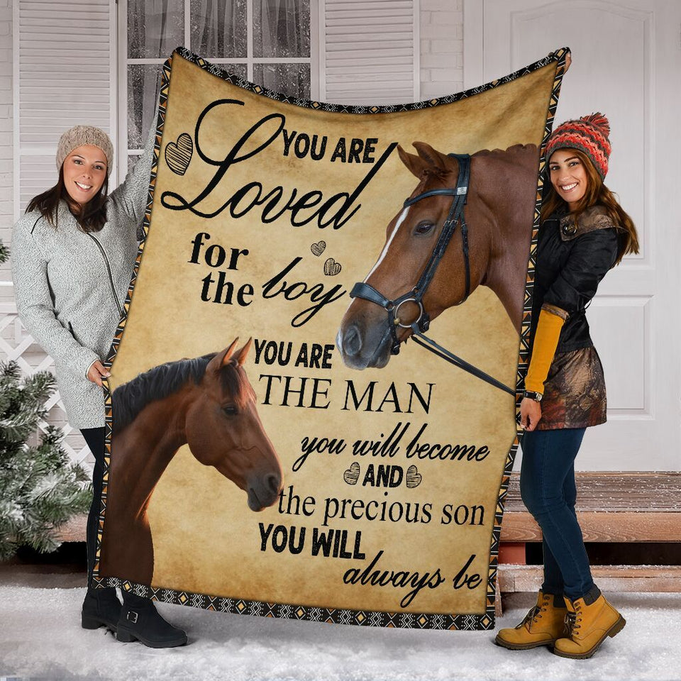 You Are Loved For The Boy Horse Ultra Soft Cozy Plush Fleece Blanket