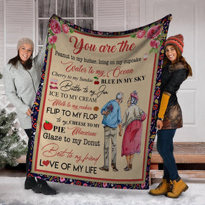 You Are The Peanut To My Butter Husband And Wife Old Couple Flower Ultra Soft Cozy Plush Fleece Blanket
