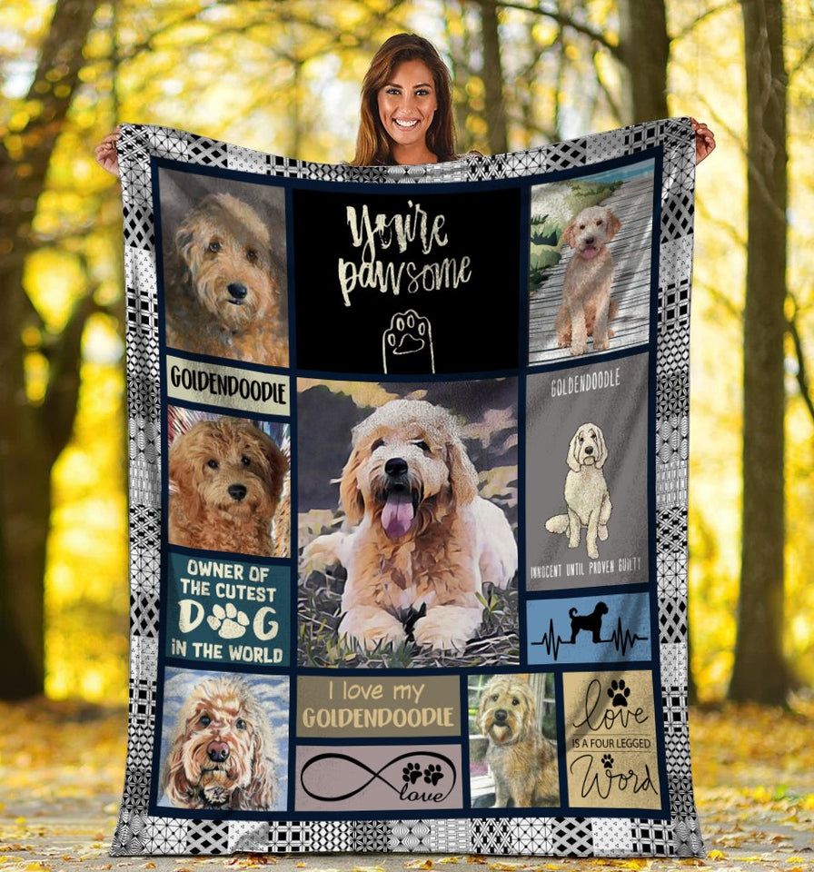 You're Pawsome  Goldendoodle Doodle Dog Ultra Soft Cozy Plush Fleece Blanket