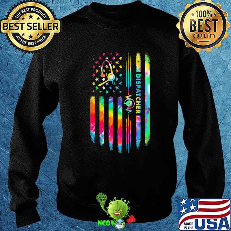 Dispatcher Hippie American Flag Unisex T Shirt | Full Size | Adult | Black | K2337