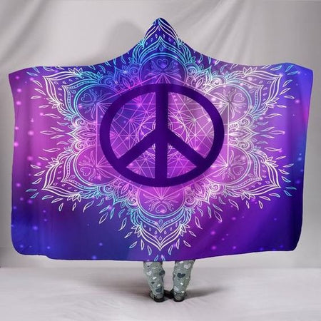 Hippie Peace Mandala Hooded Blanket | Adult 60x80 inch | Youth 45x60 inch | Colorful |  HB1100