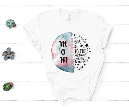 Love You To The Moon And Back Mom Gift Unisex T Shirt | Full Size | Adult | Black | H5393