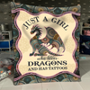 Dragon - Just A Girl Who Loves - Fleece Blanket | Adult 60x80 inch | Youth 45x60 inch | Colorful | BK1974
