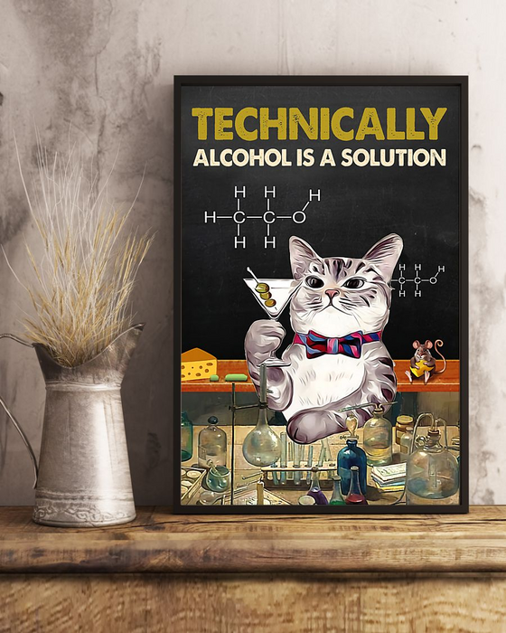 Technically Alcohol Is A Solution Cat Retro Edge-to-edge Printed Poster | 200 GSM Paper | 11x17 inch | 16x24 inch | 24x36 inch | Colorful | P1185