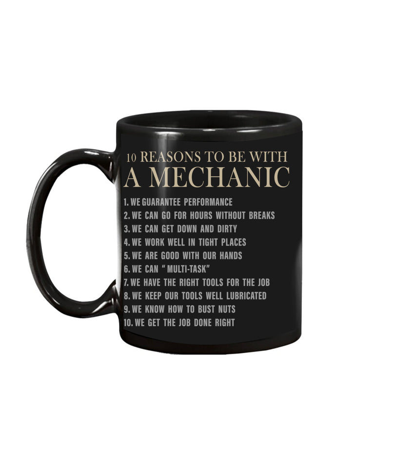 10 Reasons To Be With A Mechanic Tee Funny Mechanic Unisex T Shirt | Full Size | Adult | Black | K1895