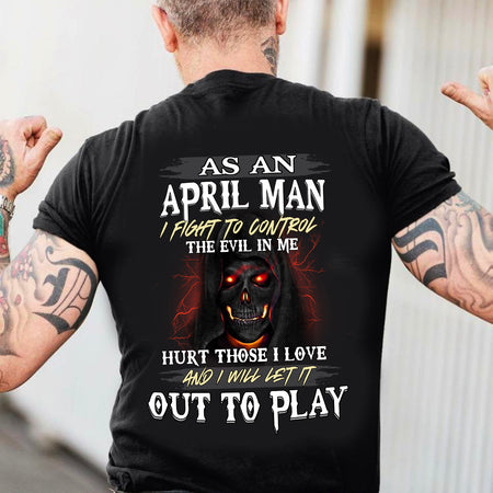 As An April Man Unisex T Shirt | Full Size | Adult | Black | K13734