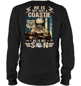 He Is Not Just A Coastie He Is My Son Veteran Unisex T Shirt | Full Size | Adult | Black | K2588