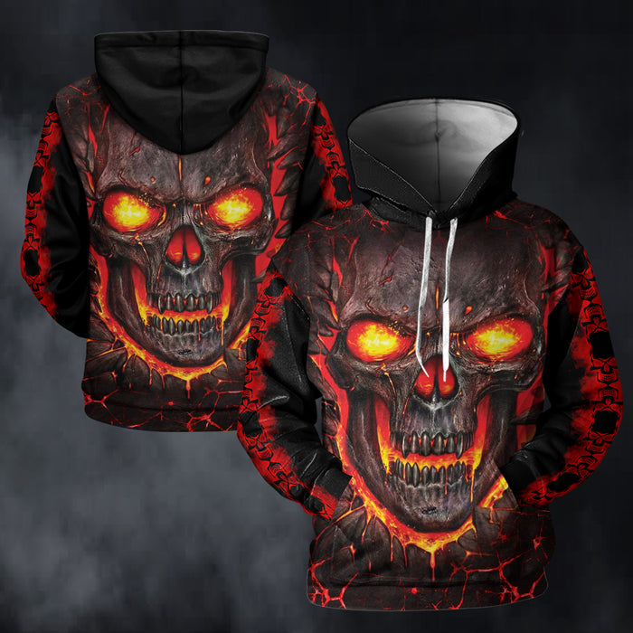 Skull Fire 3D All Over Print | Hoodie | Unisex | Full Size | Adult | Colorful | K1322