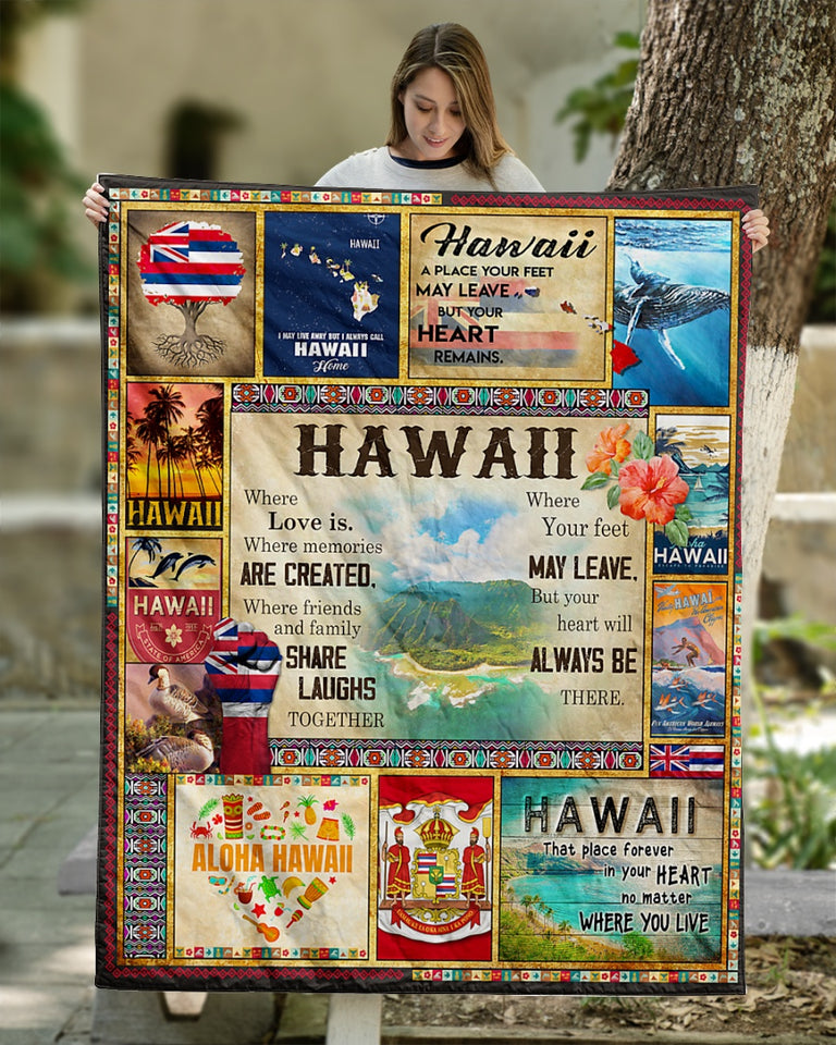 Hawaii Where Love is Fleece Blanket | Adult 60x80 inch | Youth 45x60 inch | Colorful | BK1921
