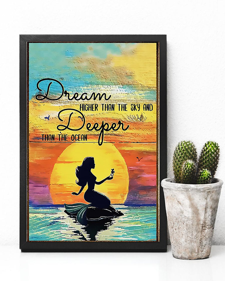 Mermaid Dream Higher Than The Sky Edge-to-edge Printed Poster | 200 GSM Paper | 11x17 inch | 16x24 inch | 24x36 inch | Colorful | P1211