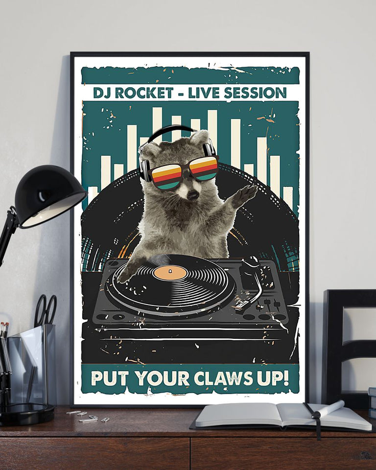 DJ Rocket Raccoon Edge-to-edge Printed Poster | 200 GSM Paper | 11x17 inch | 16x24 inch | 24x36 inch | Colorful | P1321