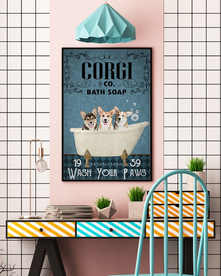 Corgi Bath Soap Edge-to-edge Printed Poster | 200 GSM Paper | 11x17 inch | 16x24 inch | 24x36 inch | Colorful | P1354