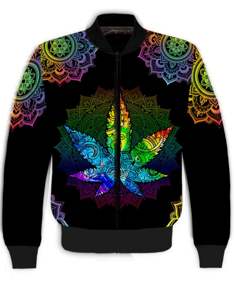 Happy Hippie Weed With Mandala 3D All Over Print | Hoodie | Unisex | Full Size | Adult | Colorful | HT3446