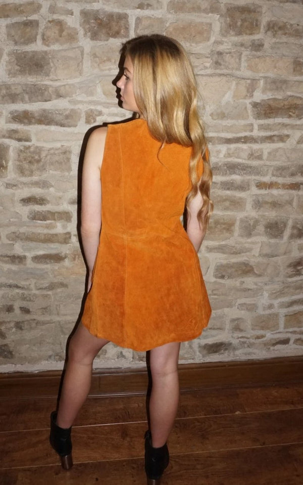 Vintage 60s Rust Orange Suede Plunge Mini Dress / UK Size 10/12