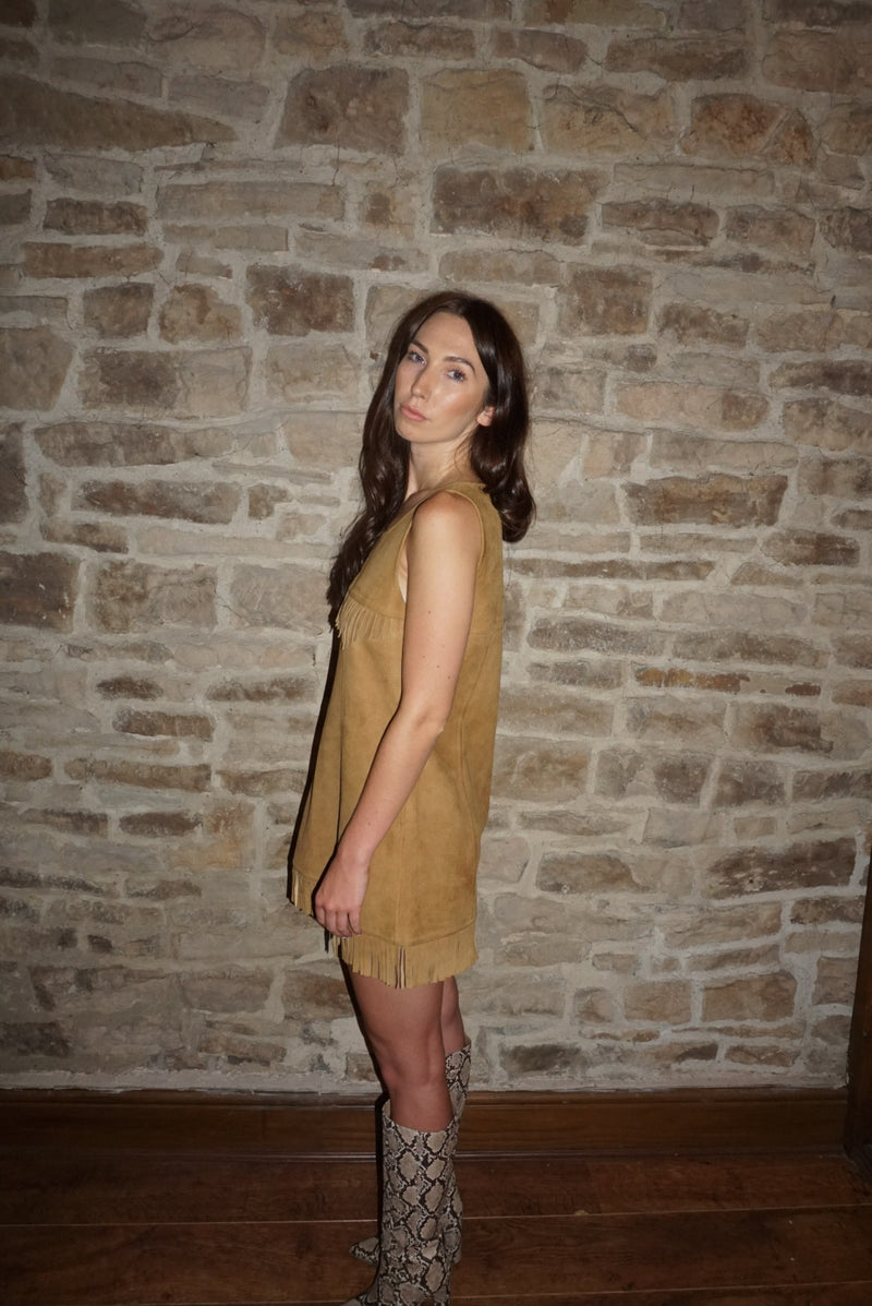 Vintage 70s Tan Fringe Suede Dress / UK Size 8