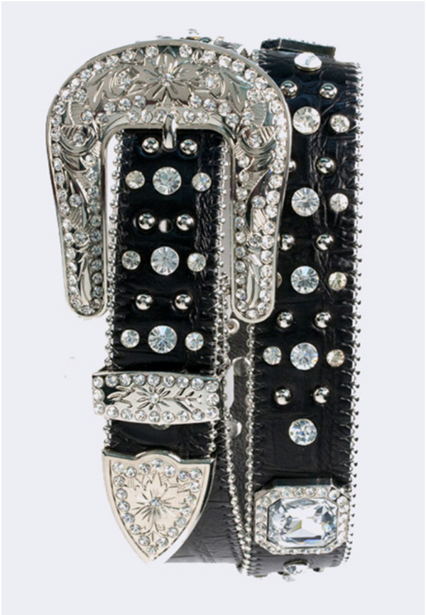 Rhinestone Cowboy Black/Silver Western Leather Belt