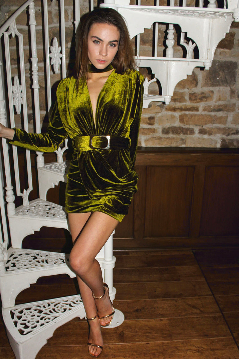 Bianca Green Velour Dress