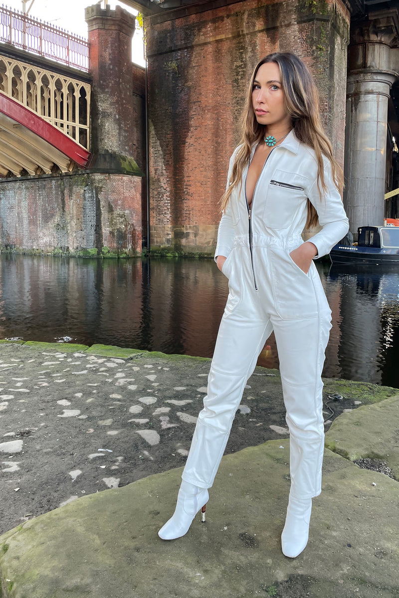 The Harley White Leather Jumpsuit