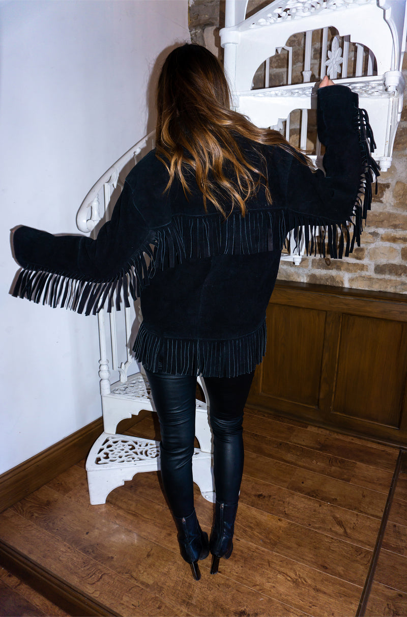 Vintage 70s Black Fringe Suede Jacket / UK Size 10