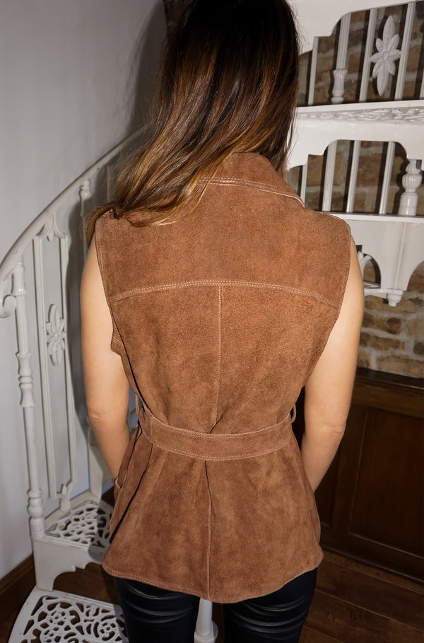 Vintage 70s Chocolate Suede Waistcoat / UK Size 8/10