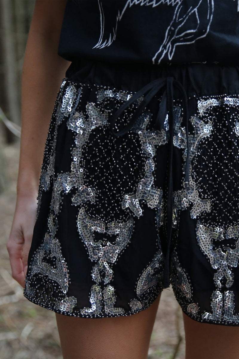 Debbie Black Silver Embellished Shorts
