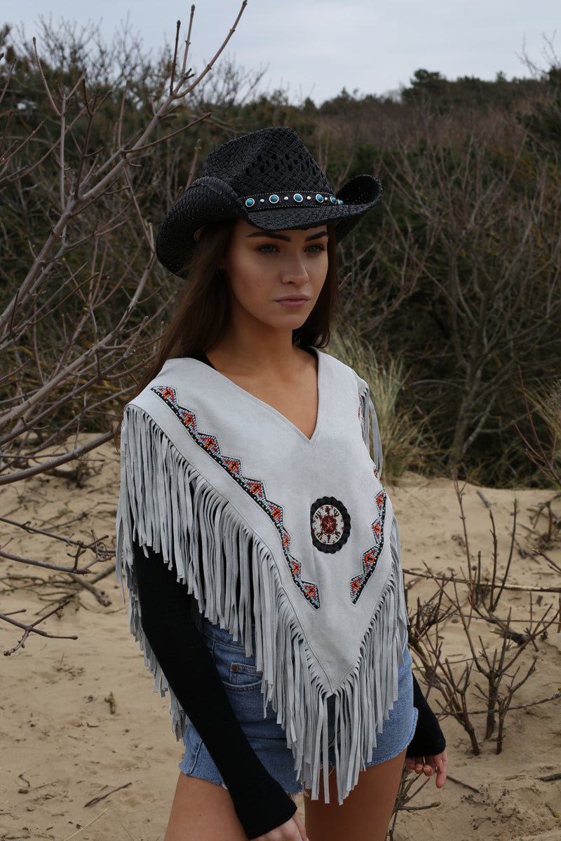 Hendrix Grey Suede Beaded Poncho